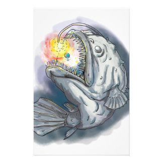 Anglerfish Swooping up Solar System Lure Watercolo Stationery
