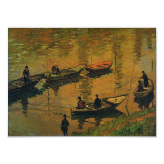 Anglers on the Seine at Poissy, Claude Monet, 1882 Poster