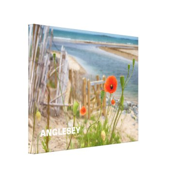 Beach Themed Anglesey Wales Scenic View Beach And Wild Poppies Canvas Print