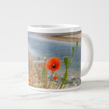 Beach Themed Anglesey Wales Scenic View Beach And Wild Poppies Giant Coffee Mug