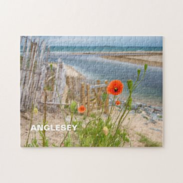Anglesey Wales Scenic View Beach And Wild Poppies Jigsaw Puzzle