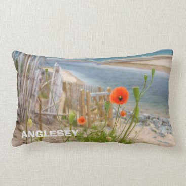 Beach Themed Anglesey Wales Scenic View Beach And Wild Poppies Lumbar Pillow
