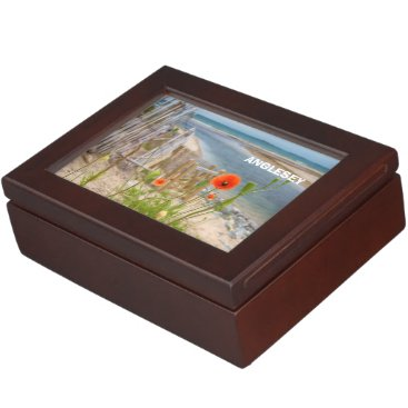 Beach Themed Anglesey Wales Scenic View Beach And Wild Poppies Memory Box
