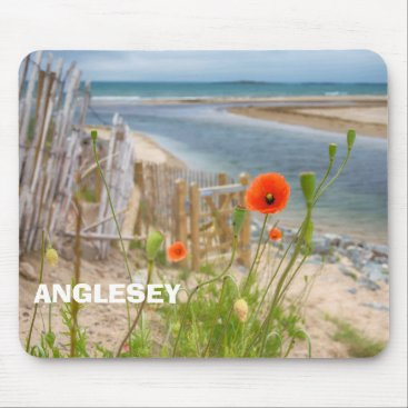 Beach Themed Anglesey Wales Scenic View Beach And Wild Poppies Mouse Pad