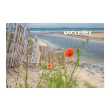 Beach Themed Anglesey Wales Scenic View Beach And Wild Poppies Placemat
