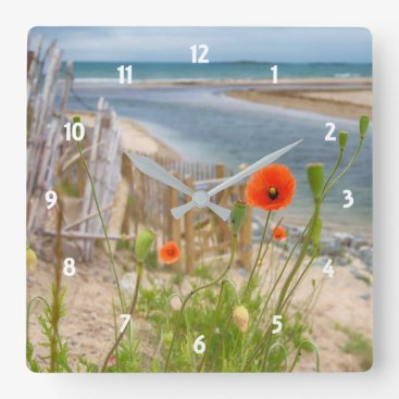 Beach Themed Anglesey Wales Scenic View Beach And Wild Poppies Square Wall Clock