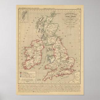 Angleterre, Ecosse, Irlande et Man 1100 a 1280 Print