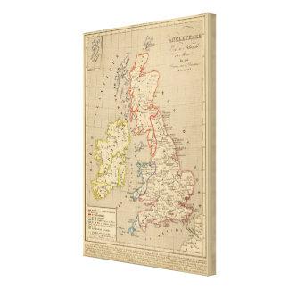 Angleterre, Ecosse, Irlande et Man en 1100 Canvas Print