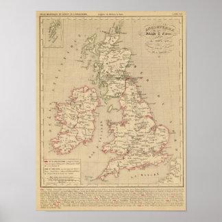 Angleterre, Irelande & Ecosse 1281 a 1400 Poster