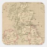 Angleterre, Irelande y Ecosse 1281 un 1400 Pegatina Cuadrada