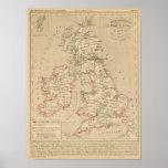 Angleterre, Irelande y Ecosse 1281 un 1400 Póster