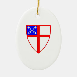 Anglican Shield Double-Sided Oval Ceramic Christmas Ornament
