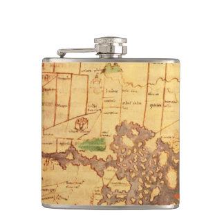 Anglo Saxon World Map Hip Flasks
