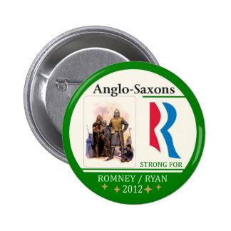 Anglosajones para Romney Ryan 2012 Pin Redondo De 2 Pulgadas