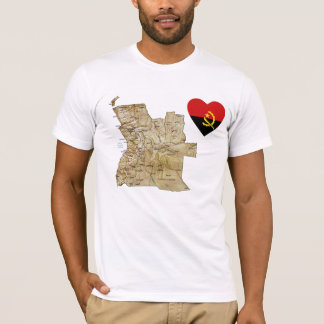 Angola Flag Heart and Map T-Shirt