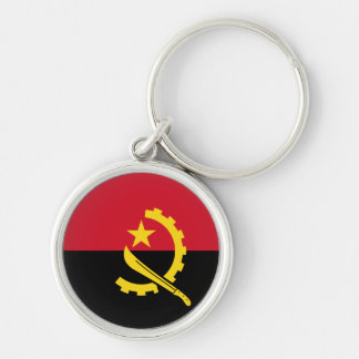 Angola Flag Silver-Colored Round Keychain
