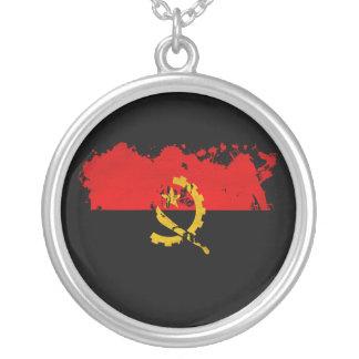 Angola Flag Round Pendant Necklace