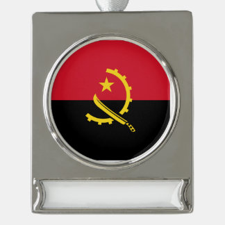 Angola Flag Silver Plated Banner Ornament