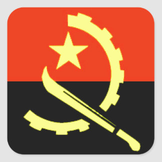 Angola flag square stickers
