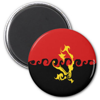 Angola Gnarly Flag 2 Inch Round Magnet