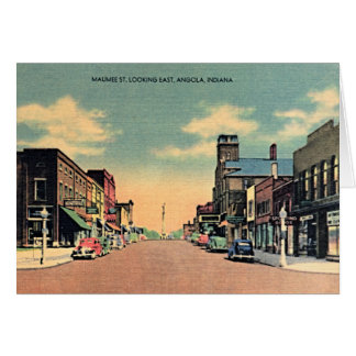 Angola Indiana Downtown Scene 1950 Card