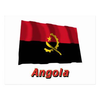 Angola Waving Flag with Name Postcard