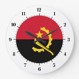 Angolan flag large clock