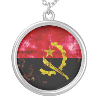 Angolan Flag Round Pendant Necklace