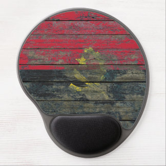 Angolan Flag on Rough Wood Boards Effect Gel Mouse Pad