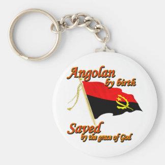 Angolano por el nacimiento ahorrado por la gracia llavero redondo tipo pin