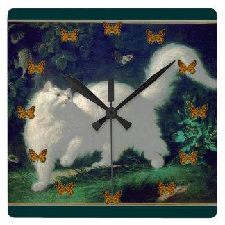Angora cat clock