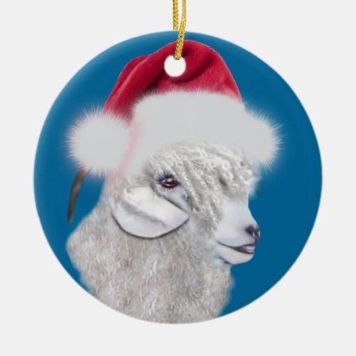 Angora Goat Santa Hat Christmas  Ornament