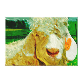 Angora Goat With Ear Tag Abstract Impressionism Stretched Canvas Prints