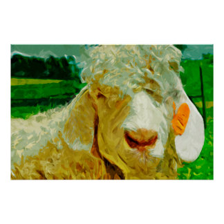 Angora Goat With Ear Tag Abstract Impressionism Poster