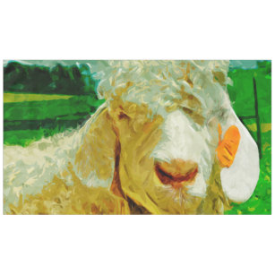 Angora Goat With Ear Tag Abstract Impressionism Tablecloth