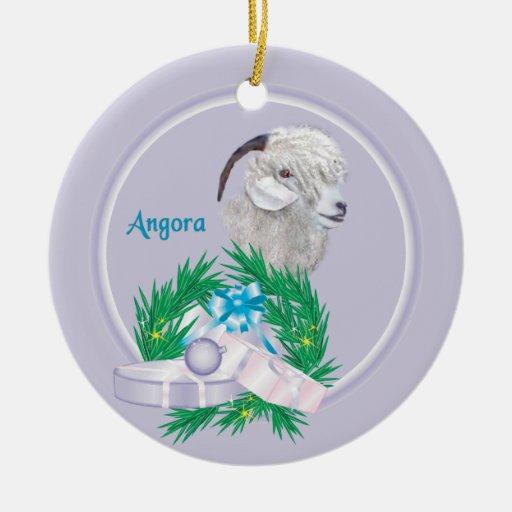 Angora Goat Wreath Holiday Ornament