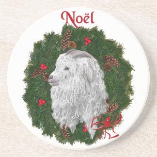 Angora Noel Goat Sandstone Coaster
