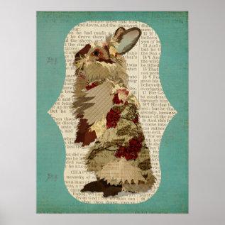 Angora Rabbit Retro Art Poster at Zazzle