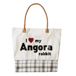 Angora rabbit zazzle HEART tote bag