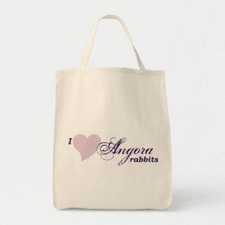 Angora rabbits grocery tote bag