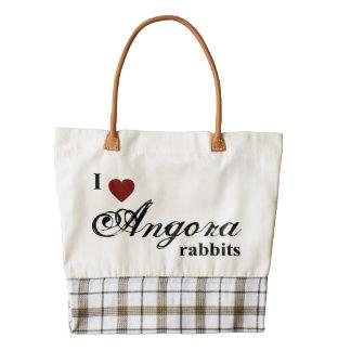 Angora rabbits zazzle HEART tote bag