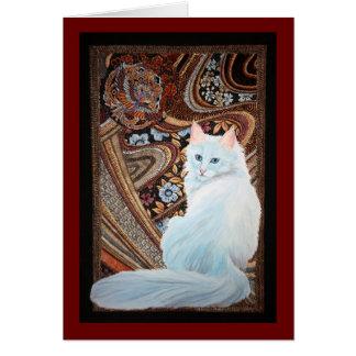 Angora turco blanco tarjeta de felicitación
