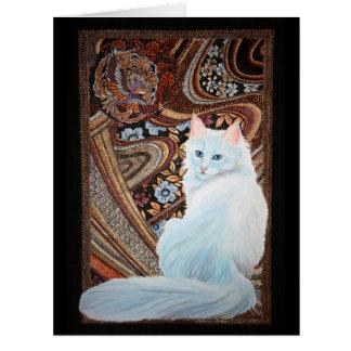 Angora turco blanco tarjeta de felicitación grande