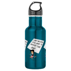 Angry activist with a protest sign stainless steel water bottle
