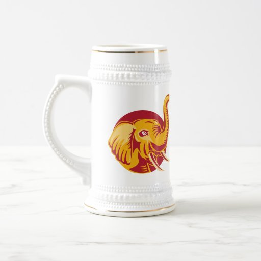 Angry African Elephant Head Retro Mug