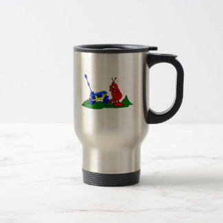 Angry Alien changing tire Travel Mug