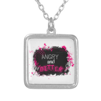 Angry and Bitter Square Pendant Necklace