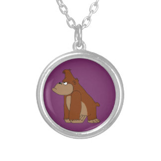 Angry ape design matching jewelry set round pendant necklace