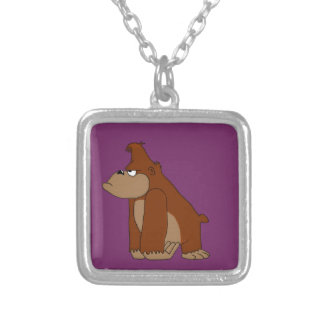 Angry ape design matching jewelry set square pendant necklace
