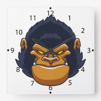 angry ape gorilla face square wall clock